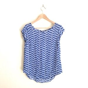 Stylus blue white patterned top size S